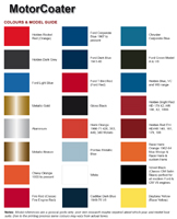 MotorCoater Colour Chart